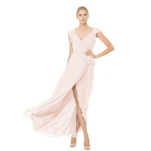 Ceremony by Joanna August Pink Wrap Maxi Dress M